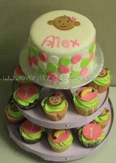 Girl Monkey cake with cupcakes