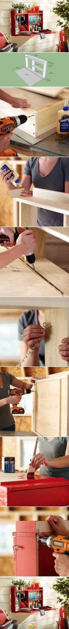 Hanging wood shelf with fold down desk top