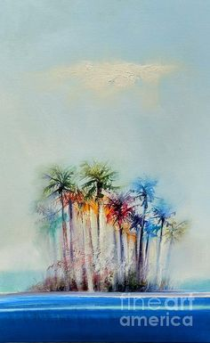 "Oil on canvas painting entitled ""Palms"" by George Peebles"