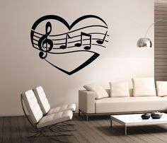 I Heart Music Wall Decal Vinyl Sticker Art Decor Bedroom Design Mural interior design music notes love