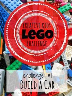 Build a Lego Car - Lego Challenge - So fun and even includes storytelling practice. Lego Hat, Lego Autos, Cultura Maker, Bolo Lego, Lego Ornaments, Lego Challenge, Challenge Accepted, Lego Activities, Indoor Activities