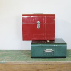 1950s File Boxes / Industrial / Aluminum  Great for storage...cd's, remote controls etc..