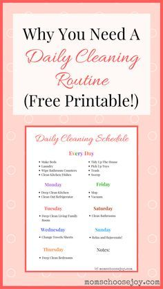 A daily cleaning routine will help you save time and keep your home clean! I laminated this daily cleaning checklist printable to help keep me motivated. It works!