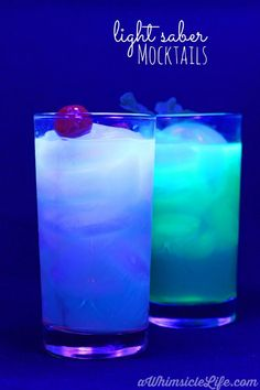 Just like light sabers, these drinks glow!  Celebrate your Star Wars excitement with these luminous mocktails.