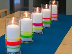 Neon's back in a big way, but a little bit -- like on these cheerful candle holders -- will do the trick.