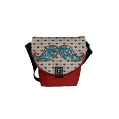 09efd97d0c    gt Discount BLUE RED MUSTACHE AND HEARTS GLITTER MESSENGER BAGS BLUE RED  MUSTACHE