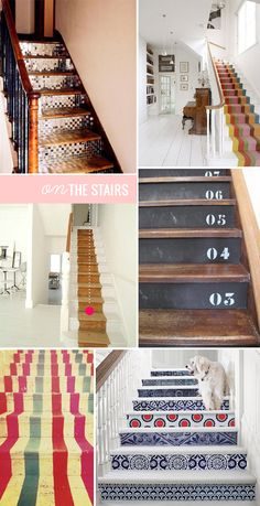 I love the idea of an artful staircase. I think I inherited this idea from my mom, who painted our deck stairs a new bright color every year. Love her!