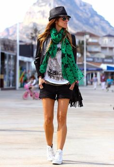 Converse with shorts and colorful scarf