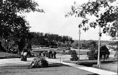 Driveway and grounds, Como Park, St. Paul, 1895 -- you can see the roof of the old original Pavilion in the distance beyond the trees (upper right)