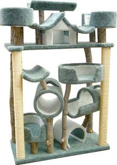 Model Bed Mania Cat Tree - More about Cat Tower at… Large Cat Tree, Cat Castle, Cat Tree House, Tree Houses, House Trees, Cat Houses, Diy Cat Tree, Ideal Toys, Cat Playground