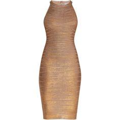 Herve Leger Renata Woodgrain Foil Print Dress ($1,290) ❤ liked on Polyvore featuring dresses, herve leger dress, textured dress, strap dress, shimmer dresses and strappy dress