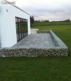 gabion patio construction, using 525mm tall by 300mm thick gabions http://www.gabion1.co.uk