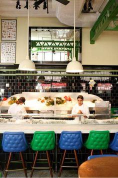 Restaurant Visit: John Dory Oyster Bar at the Ace Hotel : Remodelista azulejos