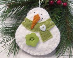 Wool Felt Snowman Ornament Warm Brown Scarf by WoollyBugDesigns