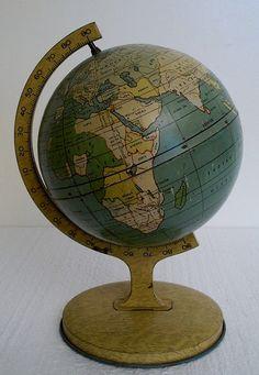 Reserved vintage world globe replogle world globe made in the usa 1930 world globe tin litho childs table globe gumiabroncs Images