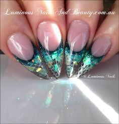 Beauty Gold Home Page Luminous Nails Coast Queensland Mermaid Nail Art Designs Technician Sculptured Acrylic With Young Pool Mixer Blue Yellow Liquid Moody Confetti Blueberry Mylar Nail Art Design Gallery, Gel Nail Art Designs, Love Nails, Pretty Nails, My Nails, Glitter Nails, Stiletto Nails, Luminous Nails, Mermaid Nails