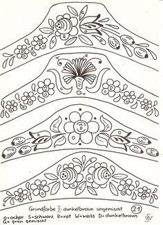 BAURENMALSCHULK One Stroke Painting, Tole Painting, Fabric Painting, Painting & Drawing, Wood Burning Patterns, Wood Burning Art, Folk Embroidery, Embroidery Patterns, Rosemaling Pattern