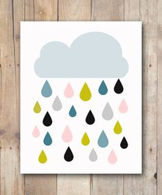 Print It Yourself 8x10 Cloud and Rain INSTANT DIGITAL DOWNLOAD, Cloud and Colorful Raindrops    This printable features a blue cloud with