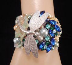 Dragon Fly Cuff Bracelet   Blue Dreams  vintage by InVintageHeaven, $55.00