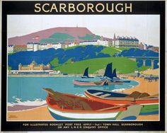 Vintage Scarborough Railway Poster reprint in Art, Posters, Modern Posters Uk, Train Posters, Railway Posters, Poster Prints, Retro Posters, Tourism Poster, Art Uk, Vintage Travel Posters, Vintage Ads