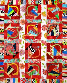 "nifty quilts: ""I made this one in a class with Freddy Moran in The basket block is in the book, Freddy and Gwen Collaborate Again, by Gwen Marsten and Freddy Moran. Bright Quilts, Small Quilts, White Quilts, Colorful Quilts, Crumb Quilt, Charm Quilt, Quilt Modernen, Basket Quilt, String Quilts"