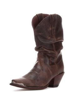 <p></p><p>Classy, comfortable, and tremendously fashionable. This Durango boot's distressed brown leather, slouch style, fashion heel, and decorative metal toe all help to create a sultry feminine attitude that is hard to match in western footwear.<br></p><p></p>