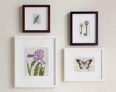 Print Set, Four Prints, violets and lavendars artwork on vintage dictionary pages, vintage dictionary prints, art prints