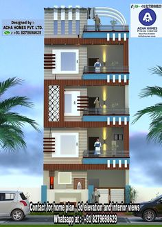 feet 3 bedroom apartment model contemporary house plan by Acha Homes pvt ltd,kasargod, Kerala. House Outer Design, House Front Wall Design, House Outside Design, Small House Design, 3 Storey House Design, Bungalow House Design, Front Elevation Designs, House Elevation, Narrow House Designs
