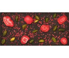 Strawberry Field Schweizer Zartbitterschokolade, Erdbeerstückchen (IN nd AUF), Erdbeerscheiben, Pistazien  Nur solange der Vorrat reicht! CHF 11.50 / € 9,33
