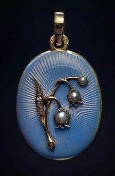 Faberge 'Lily of The Valley' Blue Guilloche Enamel, Diamonds, Pearl, Gold Locket, c. 1899 - 1903