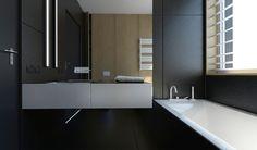 #bathroom #black #bath #white #interior #design #monikaskowronska.pl