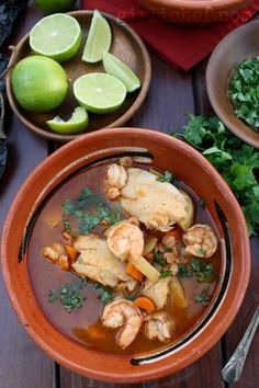 Shrimp, fish, and veggies in a flavorful broth form this classic Mexican caldo. Caldo de Camaron y Pescado (Brothy Shrimp & Fish Soup) - Caldo de Camaron y Pescado Fish Recipes, Seafood Recipes, Mexican Food Recipes, Soup Recipes, Great Recipes, Cooking Recipes, Mexican Fish Soup Recipe, Seafood Soup, Seafood Dishes