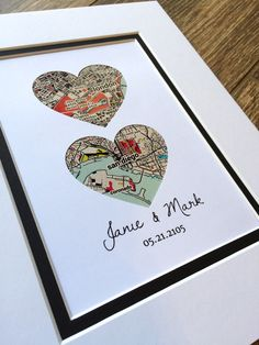 Map Art First Anniversary or Wedding Gift Map Heart by HandmadeHQ