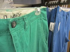 go bright! slim khakis in new colors! Pop pants!