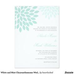 White and Mint Chrysanthemums Wedding 5x7 Paper Invitation Card