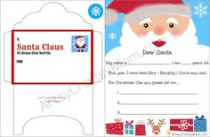 Here's a letter to Santa Free Printable perfect for the little ones to fill out. They can fill in their age, what they'd like to receive for Christmas, and how they've been behaving. This activity is great for encouraging writing. Comes with a matching envelope template too.