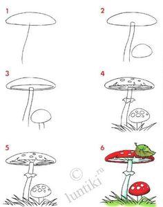 paddenstoel tekenen met kleuters.  How to draw a toadstool, or mushroom.