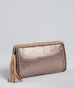 Best Trends Forever. Best Trends For Best Friends. Best Fashion Bloggers Blog about Fashion, Style, Tops, Bottoms, Handbags, Shoes and Dresses to Excite Your Life! Wardrobe - Handbags - BCBGMAXAZRIA rose gold metal mesh 'Raven' tassel clutch