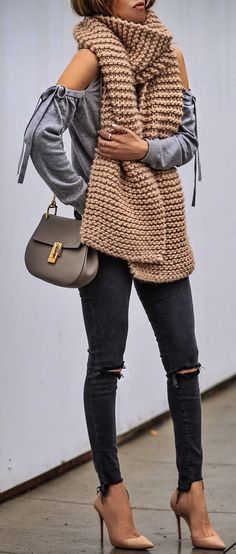 #spring #outfits  Brown Maxi Scarf & Grey Open Shoulder Top & Black Ripped Skinny Jeans & Nude Pumps