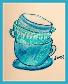 #art #colors #annsz #face #goodtime #pisak #painting #malarstwo #rysunek #draw #szkic #cup #morning