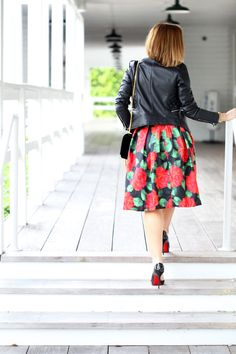 1ba1886a5d9 A Moto To Remember  Floral Midi Skirt + Faux Leather Jacket