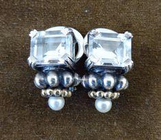 250.00 Lagos Caviar 18K750 Gold Sterling Silver White Topaz Pearl Clips | eBay