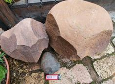 """Massive Oldowan tools found at Zusterstroom South Africa.In the middel is a small hand bone crusher.on the left is a large bone crusher of 10,3kg and on the right is the """" giant"""" of 33kg.I have never seen any museum exhibits or read of sutch large examples. Please let me know if anybody is aware of similar large examples"""