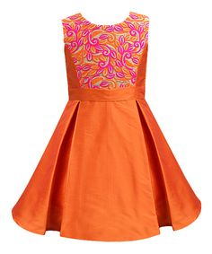 Look at this Orange Bloom Paradise Inverted-Pleat Dress - Infant, Toddler & Girls on #zulily today!