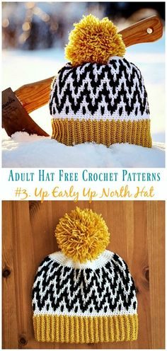 Up Early Up North Hat Pattern all'uncinetto gratis Up Early Up North Hat Free Crochet Pattern - Adulto Modelli gratuiti. Häkelmützen Up Early Up North Hat Pattern all& gratis Crochet Diy, Crochet Simple, Bonnet Crochet, Easy Crochet Blanket, Crochet Motifs, Crochet Gifts, Crochet Ideas, Plaid Crochet, Beginner Crochet