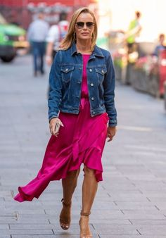 Amanda Holden in denim jacket, asymmetrical dress and sandals | For more style inspiration visit 40plusstyle.com