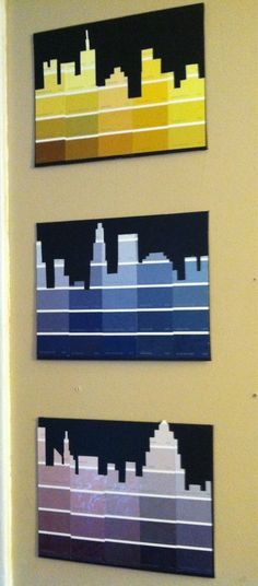 Paint Chip Crafts DIY City Skyline with Paint Swatches. With all my left over paint swatches from my headboard!DIY City Skyline with Paint Swatches. With all my left over paint swatches from my headboard! Paint Chip Art, Paint Chips, Paint Swatch Art, Paint Sample Art, Arts And Crafts, Paper Crafts, Diy Crafts, Adult Crafts, Diy Tableau