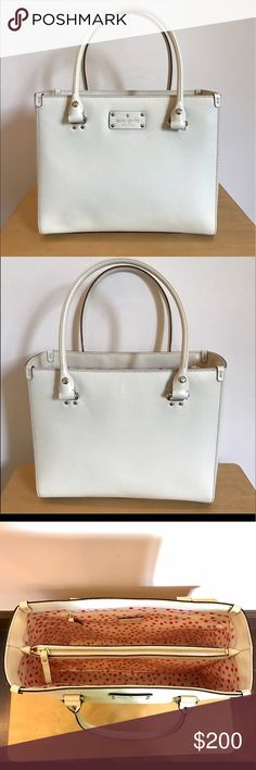 ONE DAY SALE ONLY ✨ Kate spade white tote bag The structured bag can fit size A4 books and binders and can also fit a MacBook 13 inch perfectly well. The bag doesn't come with a shoulder strap, and is in great condition, although there is a stain on the side of the bag. kate spade Bags Totes