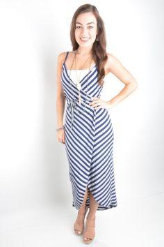 234627b34bd30 Navy and Gray Striped Dress – Deep South Pout