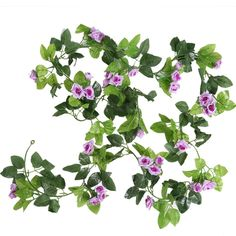 Luyue Artificial Silk Rose Flower Ivy Vine Leaf Haing Garland Home Wedding Party Decor,Pack of 2 (Light purple) *** Continue to the product at the image link.